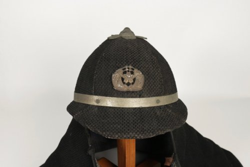 A Quite Unusual Japanese Firefighter Helmet in Cotton - Asian Art & Antiques Style