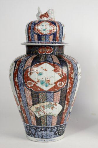 Asian Art & Antiques  - Nice Pair of Covered Vases in Imari Enamels
