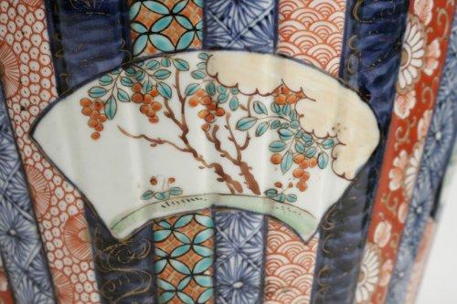 Nice Pair of Covered Vases in Imari Enamels -