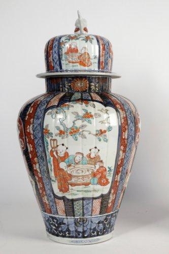 Antiquités - Nice Pair of Covered Vases in Imari Enamels