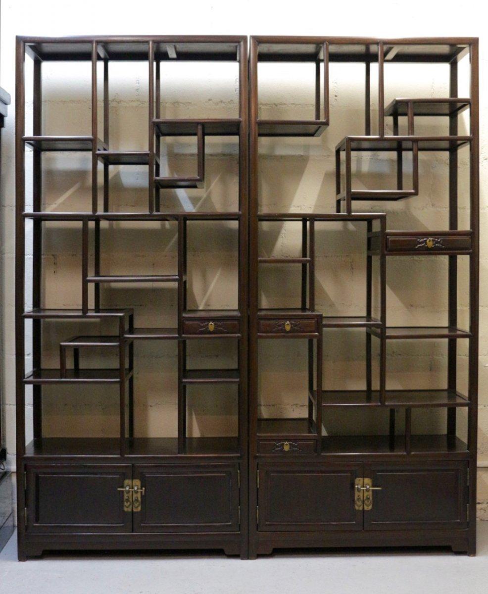 paire d 39 tag res chinoises en palissandre xxe si cle. Black Bedroom Furniture Sets. Home Design Ideas
