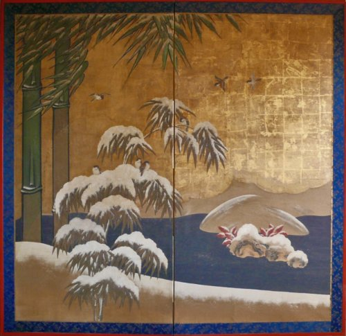 Japanese 2-Panel Screen, Kano School
