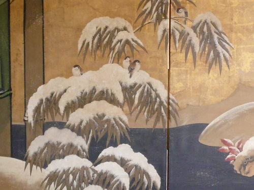 Japanese 2-Panel Screen, Kano School - Asian Art & Antiques Style