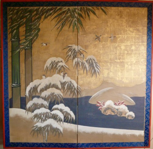 18th century - Japanese 2-Panel Screen, Kano School