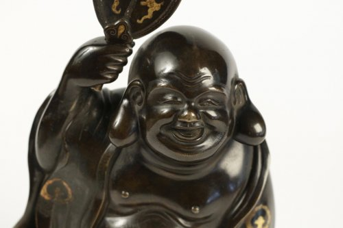 Hotei in Bronze with Brown Patina and Gold Hightlights - Asian Art & Antiques Style