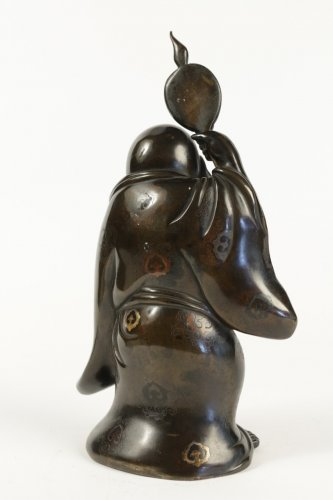 - Hotei in Bronze with Brown Patina and Gold Hightlights