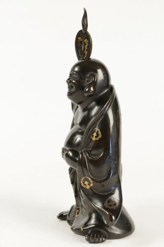 Antiquités - Hotei in Bronze with Brown Patina and Gold Hightlights