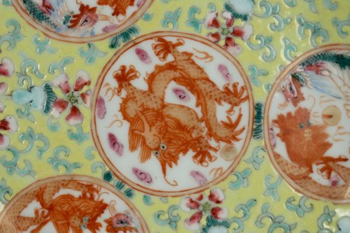 "Asian Art & Antiques  - Pair of Chinese Porcelain Plates ""Famille Rose"" Guangxu"