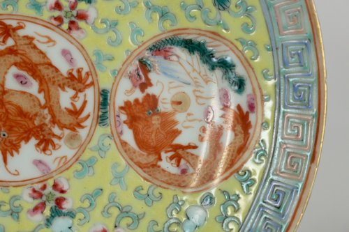 "19th century - Pair of Chinese Porcelain Plates ""Famille Rose"" Guangxu"