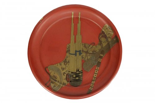 Negoro Lacquered Tray of Musical Instruments