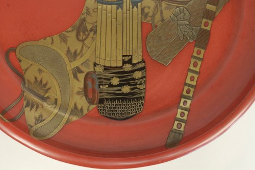 Negoro Lacquered Tray of Musical Instruments - Asian Art & Antiques Style