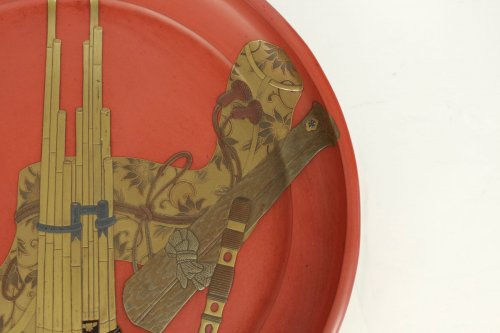 Asian Art & Antiques  - Negoro Lacquered Tray of Musical Instruments
