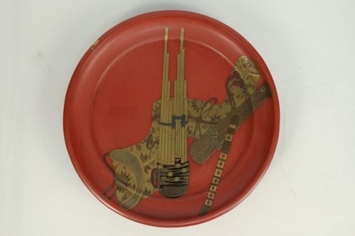 Antiquités - Negoro Lacquered Tray of Musical Instruments