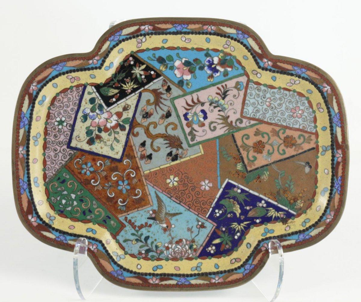 plateau en cuivre cloisonn d cor de patchwork xixe. Black Bedroom Furniture Sets. Home Design Ideas