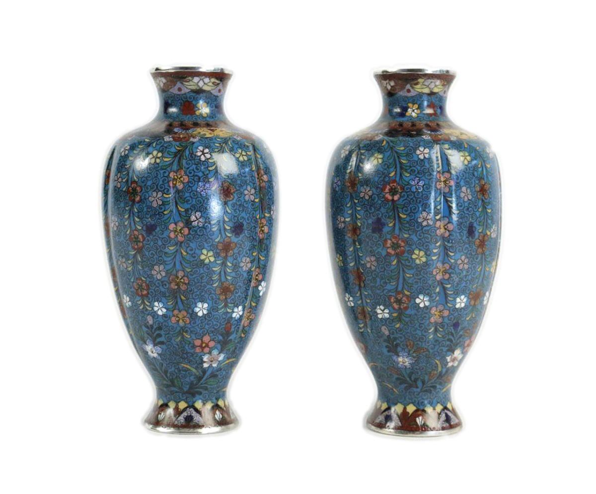 pair of cloisonné fluted vases ref 56294
