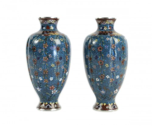 Pair of Cloisonné Fluted Vases