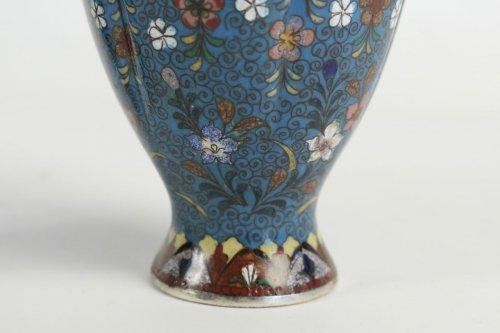 Asian Art & Antiques  - Pair of Cloisonné Fluted Vases