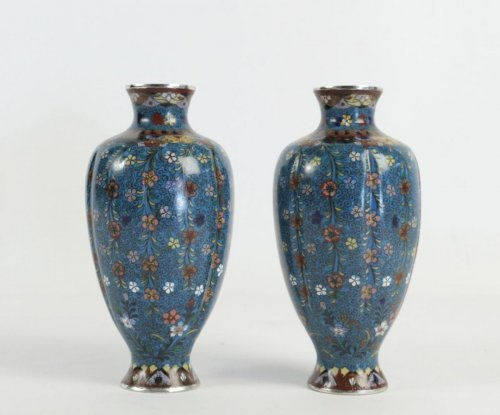 - Pair of Cloisonné Fluted Vases