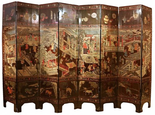 19th century 8-Panel Chinese screen in Coromandel lacquer