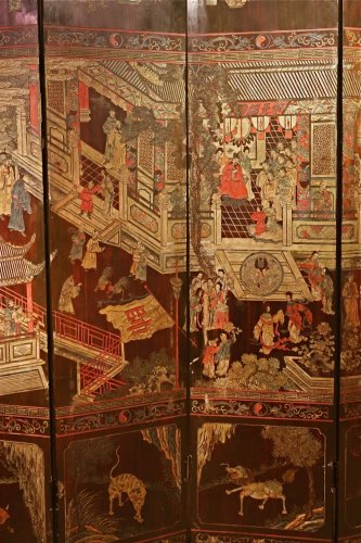 19th century 8-Panel Chinese screen in Coromandel lacquer - Asian Art & Antiques Style