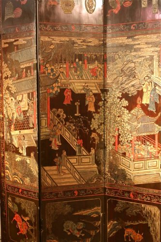 Asian Art & Antiques  - 19th century 8-Panel Chinese screen in Coromandel lacquer
