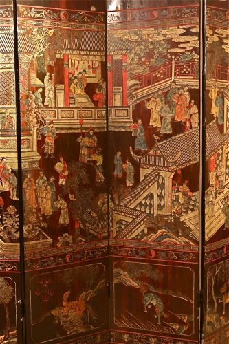 19th century 8-Panel Chinese screen in Coromandel lacquer -