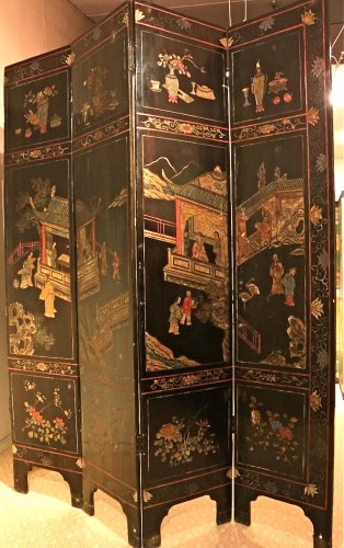 Antiquités - 19th century 8-Panel Chinese screen in Coromandel lacquer