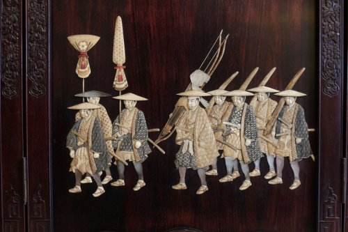 Extremely Rare Triptych of a Military Procession, Japan 19th century -