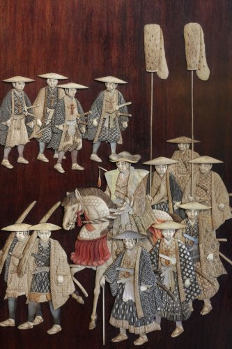 - Extremely Rare Triptych of a Military Procession, Japan 19th century