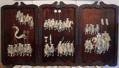 Antiquités - Extremely Rare Triptych of a Military Procession, Japan 19th century