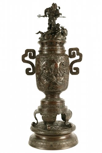 Large Bronze Incense Burner Shoki Strike an Oni