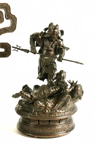 Large Bronze Incense Burner Shoki Strike an Oni -