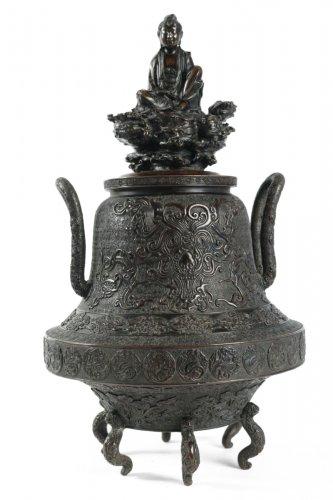 An Oshima Joun Bronze Incense Burner