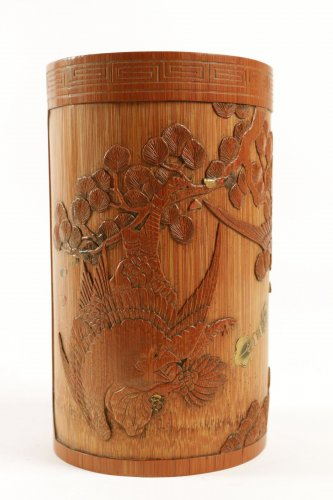 A Fine Lacquered Bamboo Brush Pot - Asian Art & Antiques Style