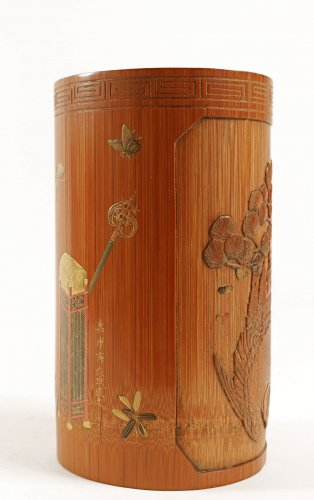Asian Art & Antiques  - A Fine Lacquered Bamboo Brush Pot