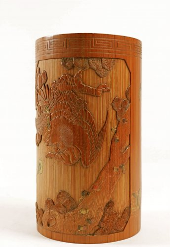 A Fine Lacquered Bamboo Brush Pot -