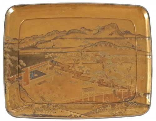 Gold Lacquer Tray of a Landscape
