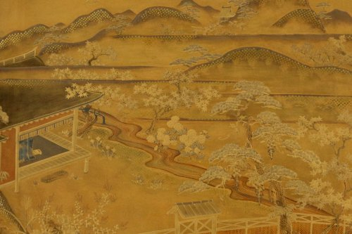 Gold Lacquer Tray of a Landscape - Asian Art & Antiques Style