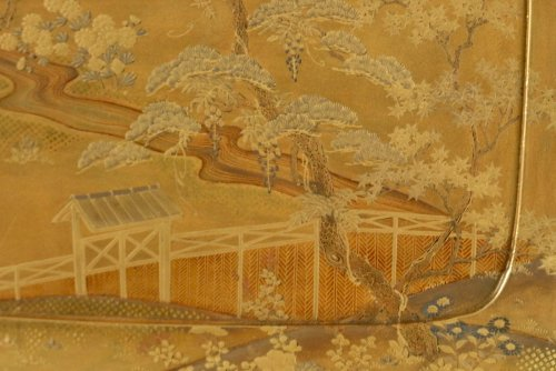 Asian Art & Antiques  - Gold Lacquer Tray of a Landscape