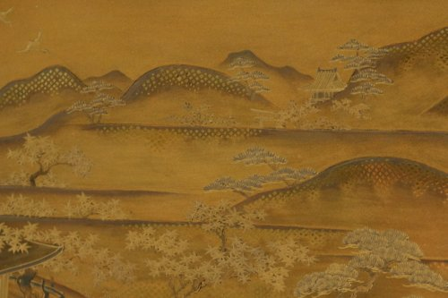 19th century - Gold Lacquer Tray of a Landscape