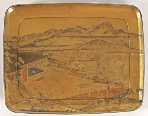 - Gold Lacquer Tray of a Landscape