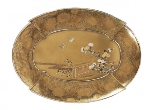 Gold Lacquer Tray in Shibayama Style Signed Kozan