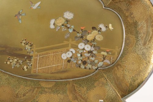 Gold Lacquer Tray in Shibayama Style Signed Kozan - Asian Art & Antiques Style