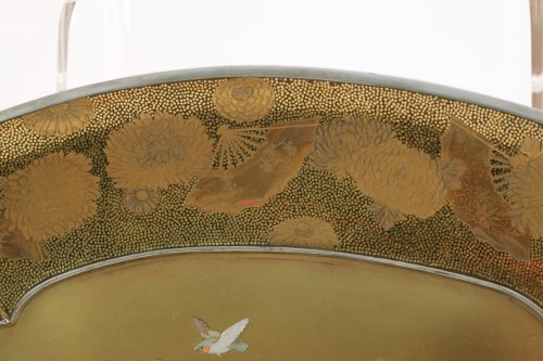 Gold Lacquer Tray in Shibayama Style Signed Kozan -