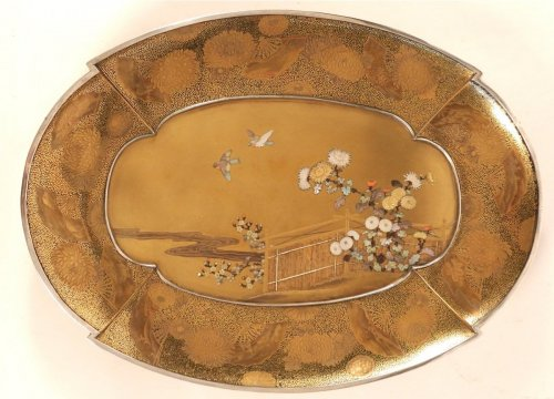 - Gold Lacquer Tray in Shibayama Style Signed Kozan