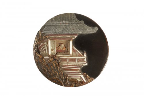 A Lacquer Kogo with a Decor of a Pavilion on a Rock