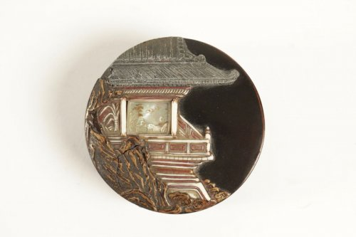 - A Lacquer Kogo with a Decor of a Pavilion on a Rock