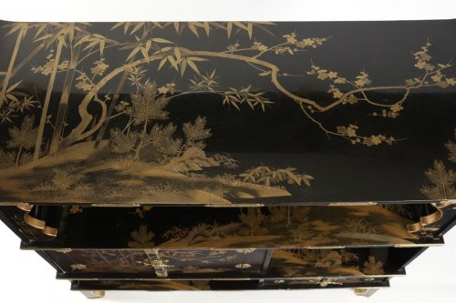 "Lacquered Cabinet Shodana ""3 friends"" Decoration -"