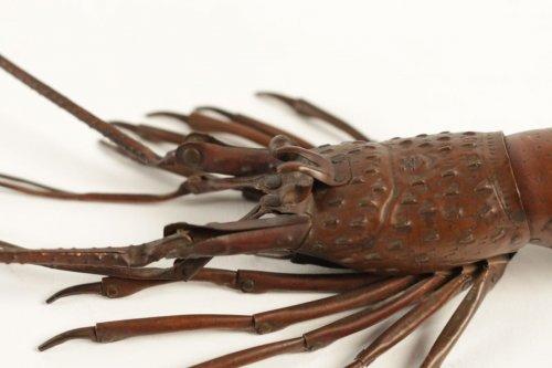 Asian Art & Antiques  - Japanese Articulated Copper Crayfish (jizaï) Signed Hiroyoshi