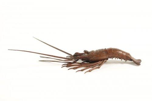 - Japanese Articulated Copper Crayfish (jizaï) Signed Hiroyoshi